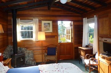 Main Area of Garden Room - stove, bed, TV, chair, dutch door