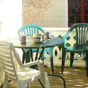 Village Farm - porch and tea served on table
