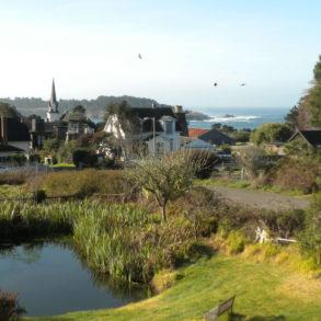 Village Farm - town and ocean view